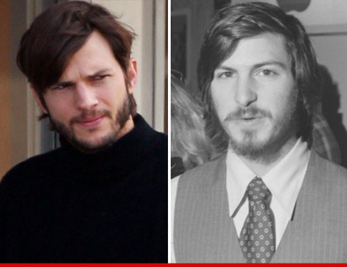 Ashton Kutcher caracterizado como Steve Jobs